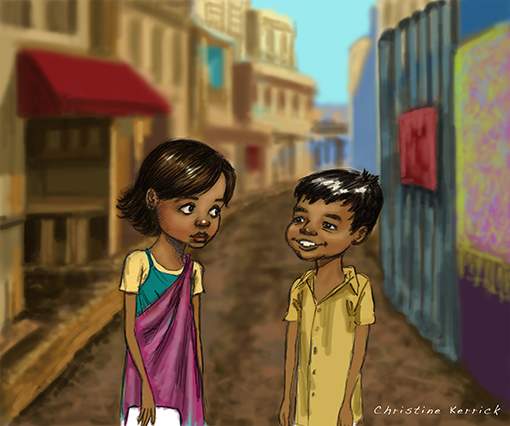 Characters from India children's book by Christine Kerrick